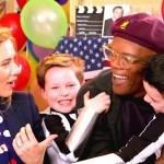 Сэмюэль Л. Джексон,Скарлетт Йоханссон,scarlett johansson, скарлетт йоханссон на детской вечеринке, скарлетт йохансосн с детьми, скралетт йоханссон на мероприятии 2014, скарлетт йоханссон на вечеринке